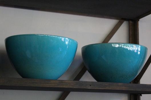 xl bowls with teal glaze