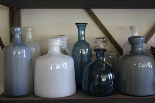 smoky blue and milk bottles