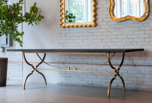 Casual glamour - fumed rough oak, steel base with waxed gold finish