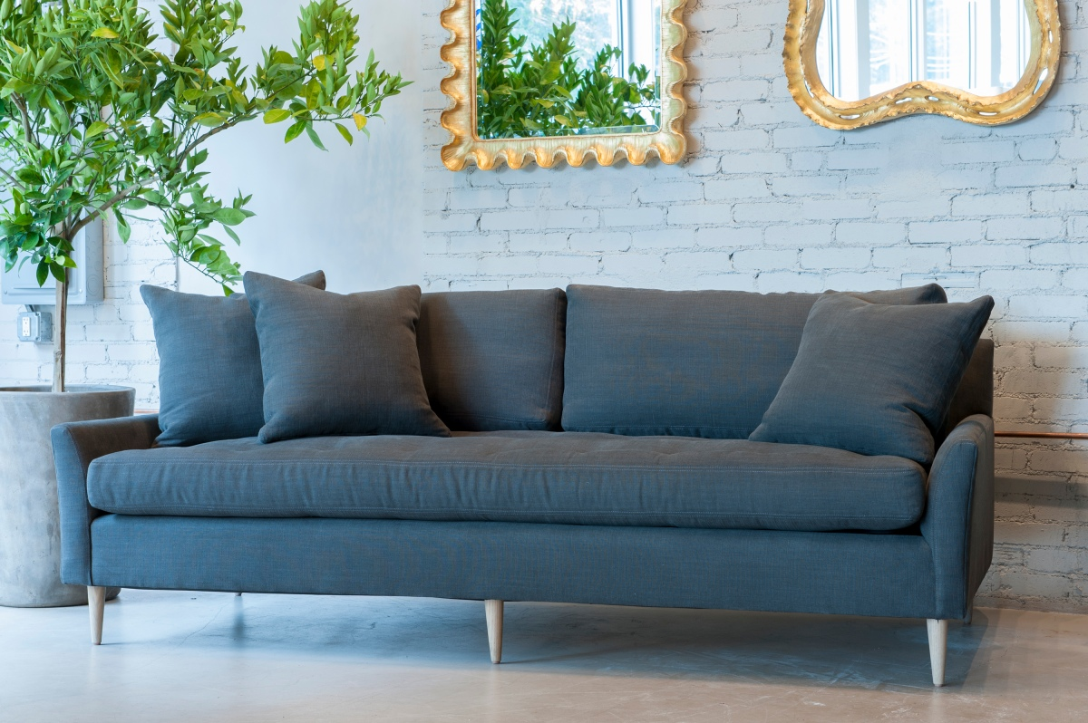 Blanche Sofa from Verellen in Lux Linen....tufted seat