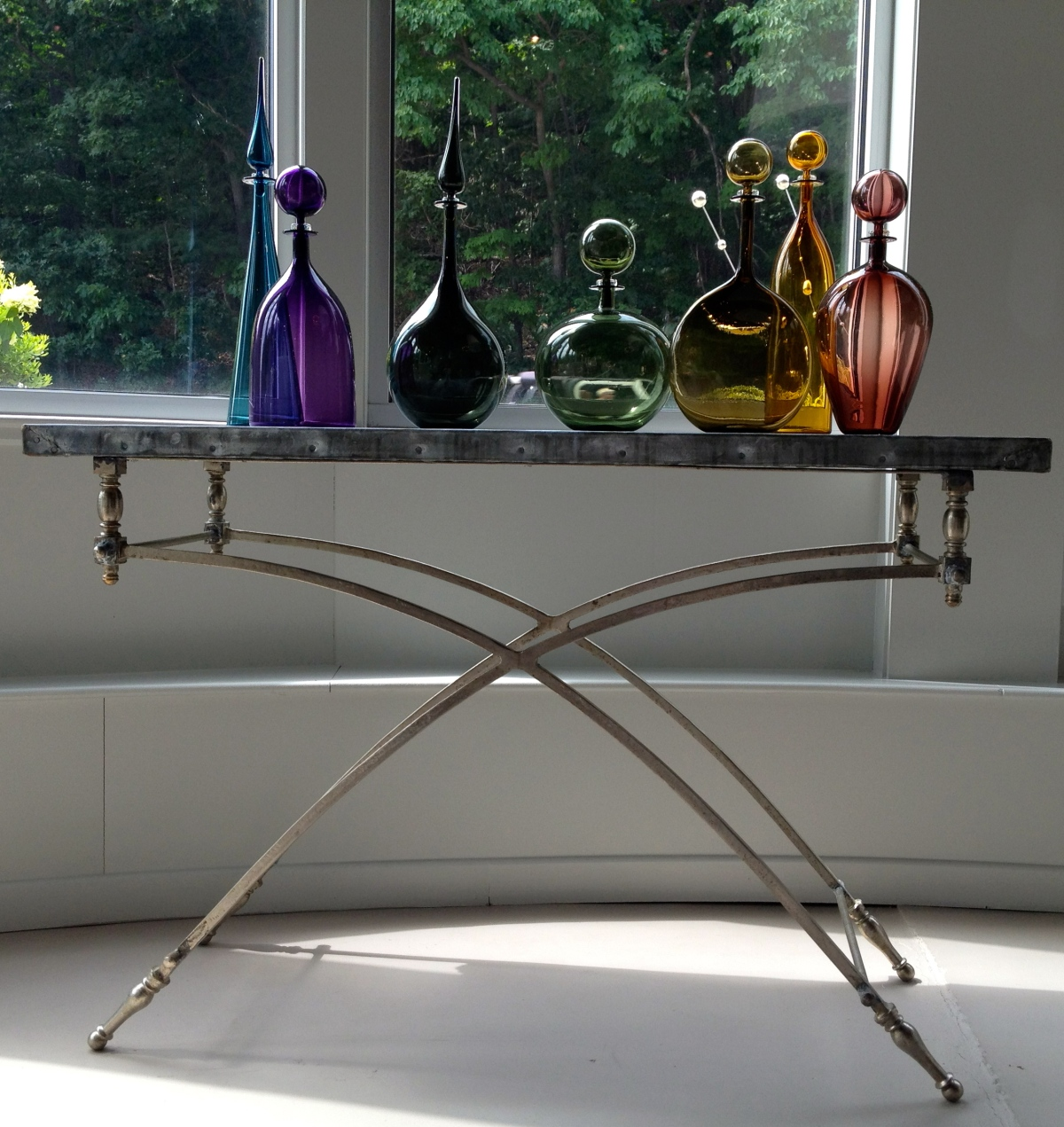 "zinc console table - designed and crafted in the usa - ""found base"" and euro zinc top"