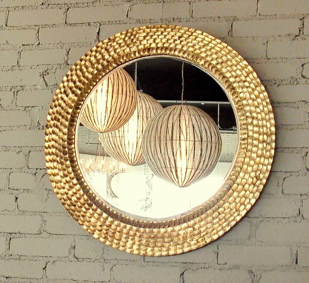 round mirror - over 400 hand cut and applied pieces, gold leafed