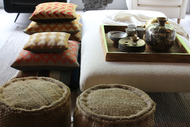 you can never have too much seating!  hemp poufs, wool seat cushions filled with buckwheat, the Marie Louise ottoman from Verellen - ottoman, coffee table, extra seating...it's the beginning of party season!