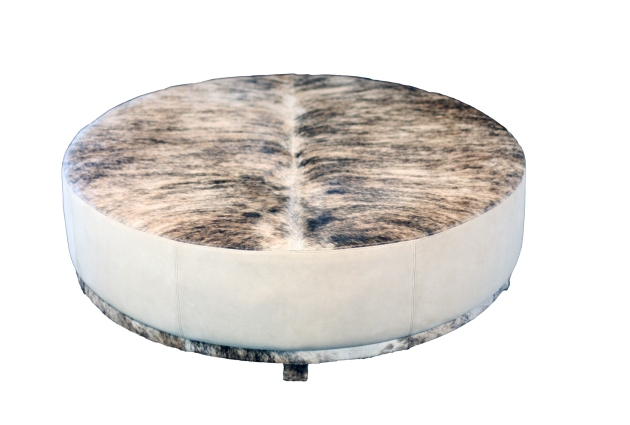 light brindle hide with suede make the Elliot round ottoman by Verellen a 'stunner'