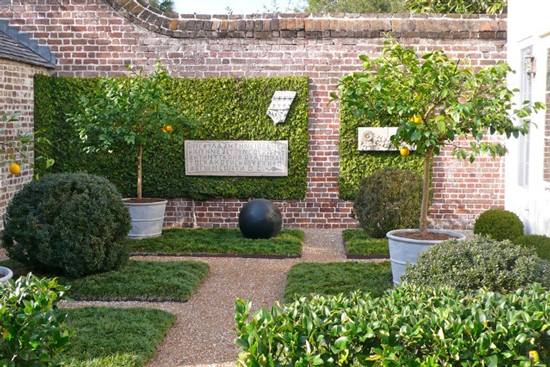 Conical Strapped Planters with Orange Trees @ southern home