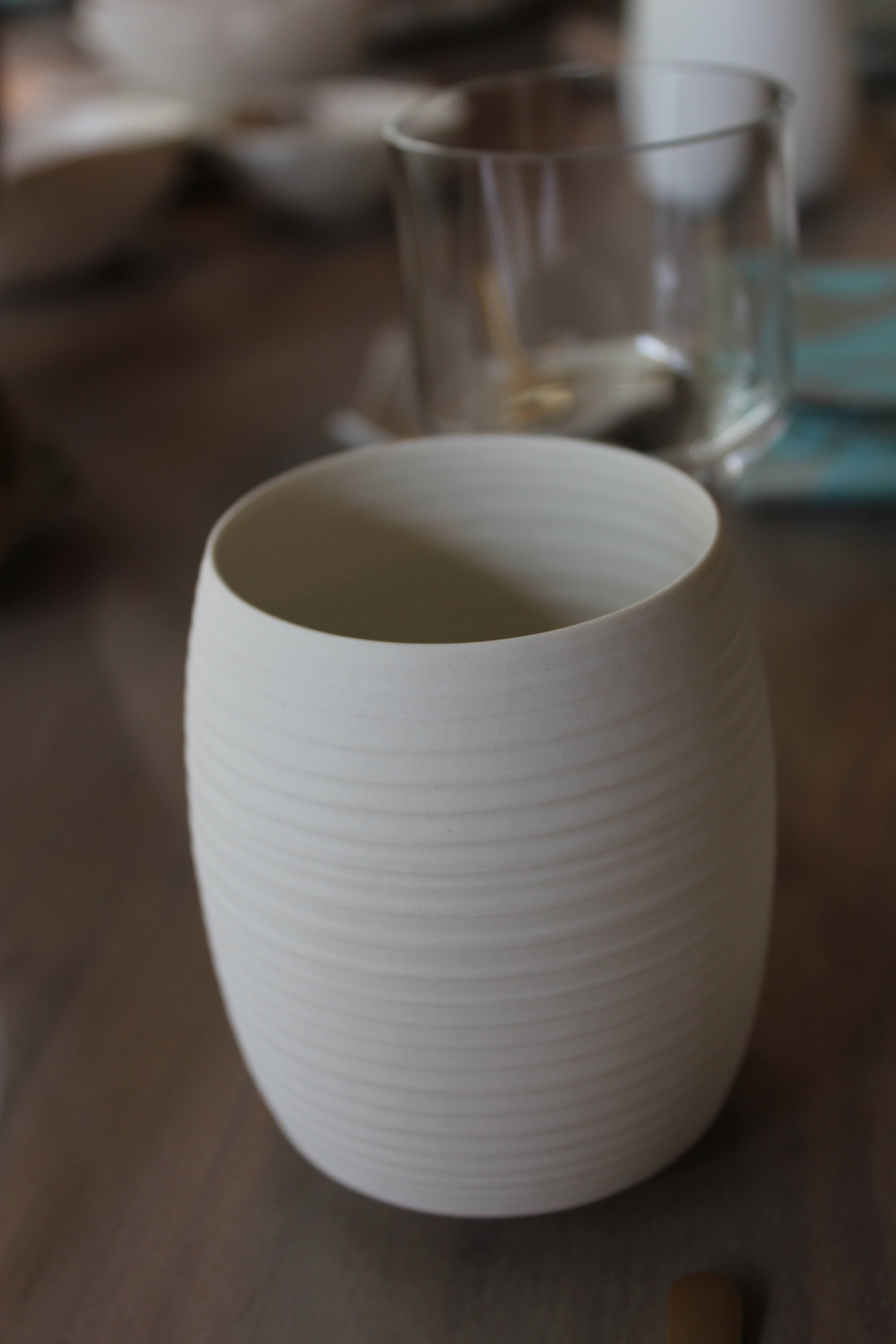 porcelain bisque cup - sake, tea or vase - wonderful matte exterior with glazed interior