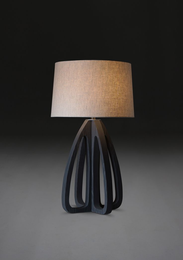 "Sorrento Table Lamp_Verellen sorrento, a serene oasis on the wondrous amalfi coast...the Sorrento Lamp by Verellen is curvy yet simple shown in coal on ash, also available in bleached ash 4 shade color options 39""h x 22"" diameter, 18"" at base Retail $ 1060. 20% off orders placed Nov. 1st + Nov. 2nd"
