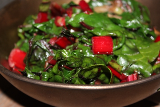 green + red of the chard - silky sautee in metallic glazed stoneware bowl