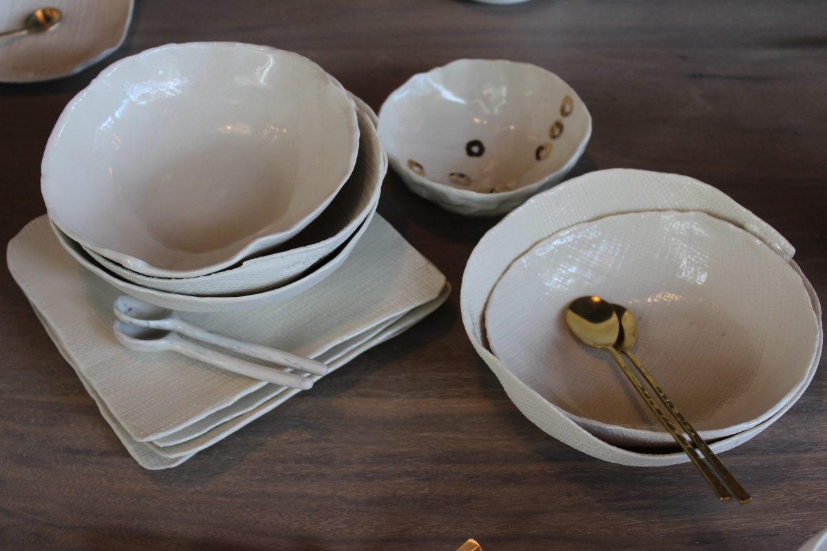 yuko uchida small plates + bowls - fine porcelain bisque with linen or burlap texture - food safe - artisan made usa $ 26 to $ 52.