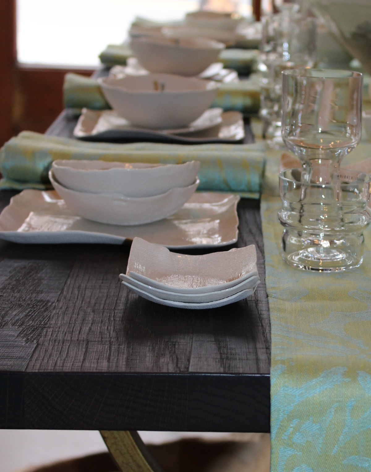 1st of spring 2015 - breezy + sunny linen runner, rich smoky table + textural setting...easing into spring