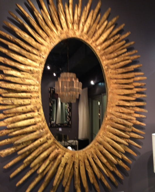 oval rays distressed gold teak mirror