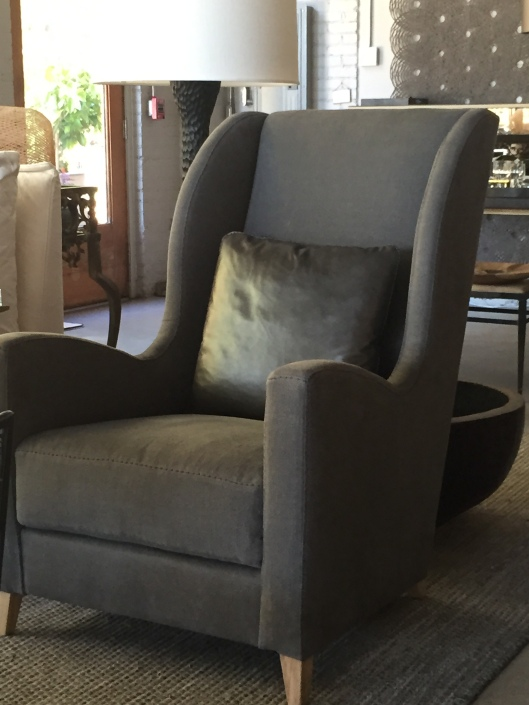 the ARNAUD...it's been a long wait - but it has been well worth it - a handsome modified wing chair from verellen - we selected kalahari linen in graphite with a nottinghill metallic leather pillow in quartz - large slip stitch adds just the right amount of 'something'