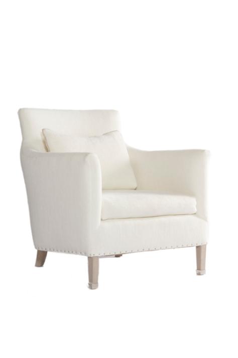 victor chair verellen white nailhead detail nickel foot
