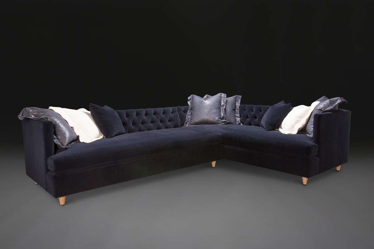 Marilyn Full Sectional in navy velvet