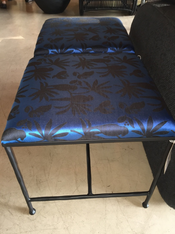stool-wrought-iron-linen wool birds-brilliant blue