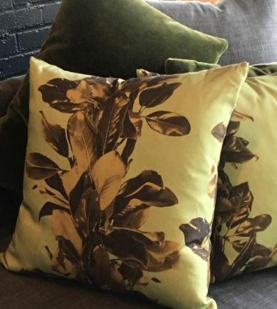 pillows-magnolia on linen-olive mohair on marilyn-artefacthome